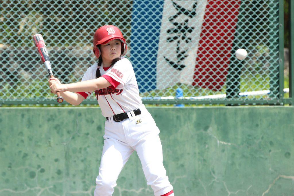 代打で出場。島本ヤンキースの女子選手